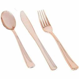 Plastic Disposable Plates Bowls & Cutlery Rose Gold Silverwa