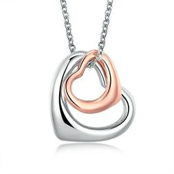 Platinum Rose Gold Plated Necklace  Women's Pendant Heart  L