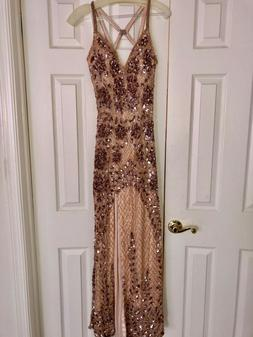 Primavera Rose Gold Sequenced Dress with slit size 6 great c