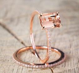 Prom 18K Rose Gold Filled Morganite Gems Jewelry Wedding Wom