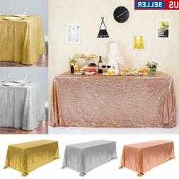Rectangle Glitter Sequin Tablecloth Sparkly Table Cover Wedd