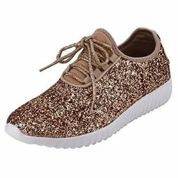 Forever Link REMY-18 Glitter Fashion Sneakers Rose gold Lace