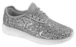 Forever Link Women's REMY-18 Glitter Fashion Sneakers Silver