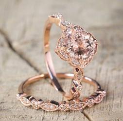 Retro Rose Gold Crystal Ring Wedding Bridal Womens Ring Set