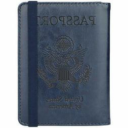 GDTK RFID Blocking Leather Passport Holder Cover Case with E
