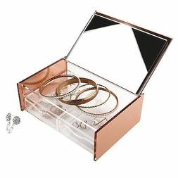 Moosy Life Rose Gold Acrylic Jewelry Organizer Box