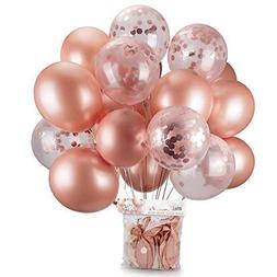 Rose Gold Balloons & Rose Gold Confetti Balloons 24 Pack -18