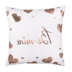 Rose Gold Be Mine Love Heart Throw Pillow Case Cushion Cover