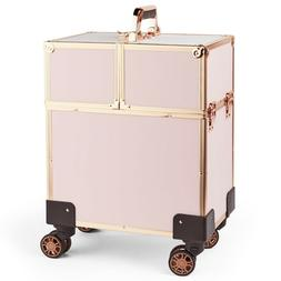 Beautify Rose Gold Beauty Train Case Trolley, Vanity Suitcas