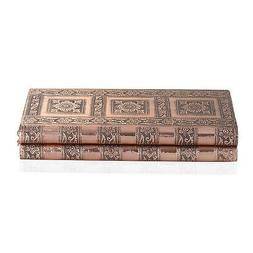 Rose Gold Color Handcrafted Embossed Aluminium Book Shaped J