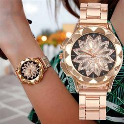 Rose Gold Crystal Flower Women Watches Ladies Quartz Stainle