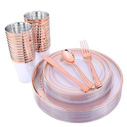 150 Pieces Rose Gold Cups & Plastic Plates & Disposable Silv