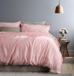Rose Gold Duvet Cover Luxury Bedding Set High Thread Count E