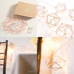 ROSE GOLD Geometric Metal LED String Lights AA Battery Power