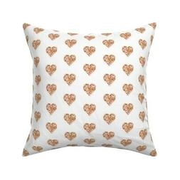 Rose Gold Glitter Heart Faux Throw Pillow Cover w Optional I