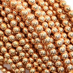 "Rose Gold Hematite Round Beads 15.5"" Strand S1 2mm 4mm 6mm 8"