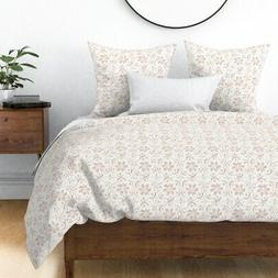 Rose Gold Medallion Floral Sateen Duvet Cover by Roostery