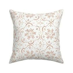 Rose Gold Medallion Floral Throw Pillow Cover w Optional Ins