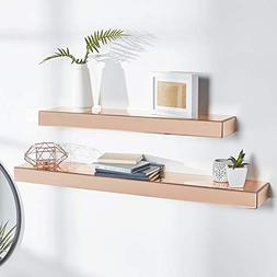 Beautify Set of 2 Rose Gold Mirrored Glass Shelves Floating