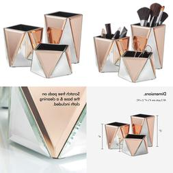 Beautify ROSE GOLD Mirrored Storage Pots For Makeup Cosmetic