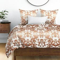 Rose Gold Painted Paint Abstract Gold Copper Sateen Duvet Co
