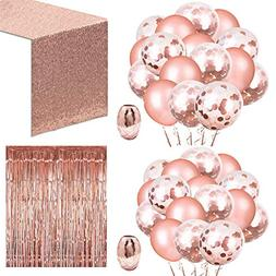 Whaline 52 Pack Rose Gold Party Decoration Set, Include 48 P