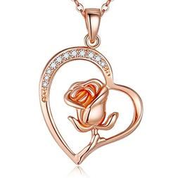 Blinkingstare Rose Gold Pendant Heart Necklace - Hypoallerge