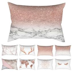 Rose Gold Pillow Case Glitter Cotton Linen Sofa Throw Cushio