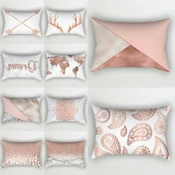 Rose Gold Pink Cushion Cover Waist Pillow Case Home Bedding