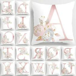 Rose Gold Pink English Alphabet Throw Pillow Case Covers Sof