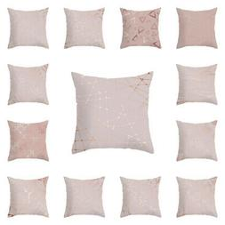 Rose Gold Pink Pillow Case Square Waist Throw Cushion Covers