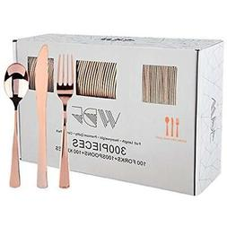 300 Pieces Rose Gold Plastic Silverware- Disposable Flatware