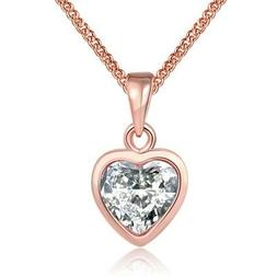 Rose Gold Plated Necklace  Women's Pendant Heart  AAA Zircon