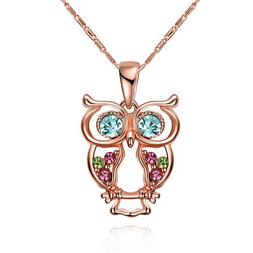 Rose Gold Plated Necklace Women's Pendant Owl Zirconia Blue