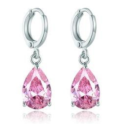 ROSE GOLD Plated Pink Crystal Rhinestone Wedding Drop Dangle