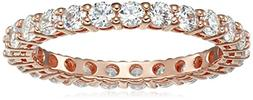 Rose-Gold-Plated Sterling Silver All-Around Band Ring set wi
