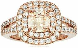 Rose Gold Plated Sterling Silver Cushion Cut Champaign Cubic