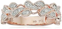 Rose Gold Plated Sterling Silver Leaves Diamond Band , Size