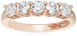 Rose-Gold-Plated Sterling Silver Round-Cut 5-Stone Ring made