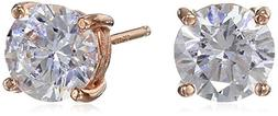 Rose Gold Plated Sterling Silver Stud Earrings set with Roun