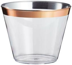 Rose Gold Rimmed Plastic Cups  9 oz. Clear, Fancy Drink Tumb
