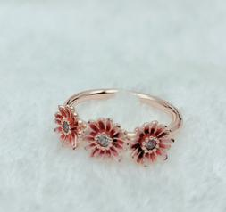 Pandora Rose Gold Ring 188792C01 TRIO Daisy Flower Ring Size