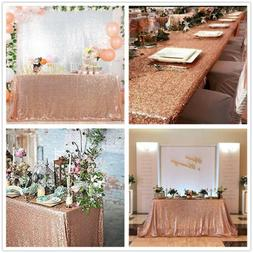 Rose Gold Sequin Tablecloth Sparkly Table Overlay Wedding Pa