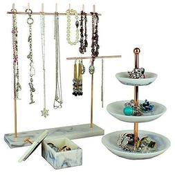 Rose Gold Jewelry Organizer Set 3 - Easily Organize Necklace