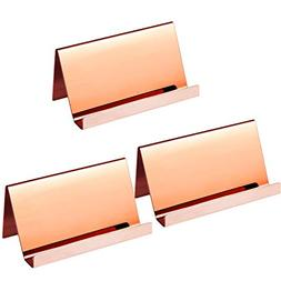 Bozoa(3 Pack Rose Gold Stainless Steel Business Cards Hold