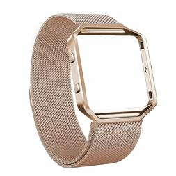 Rose Gold Stainless Steel Magnetic Loop Wrist Band Strap+Fra