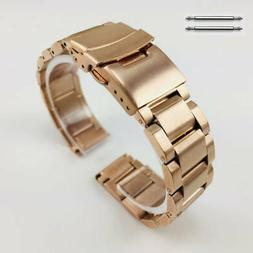 Rose Gold Stainless Steel Metal Watch Band Strap Double Lock