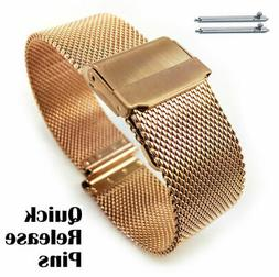 Rose Gold Steel Metal Adjustable Mesh Watch Band Strap Doubl