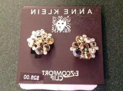 Anne Klein Rose Gold Tone Clip Cluster Earrings NWT