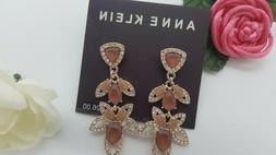 ANNE KLEIN rose gold-tone pavé & stone drop earrings - New